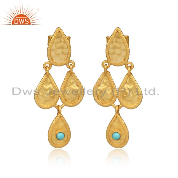 Classy Gold On 925 Silver Arizona Turquoise Earwire Earrings