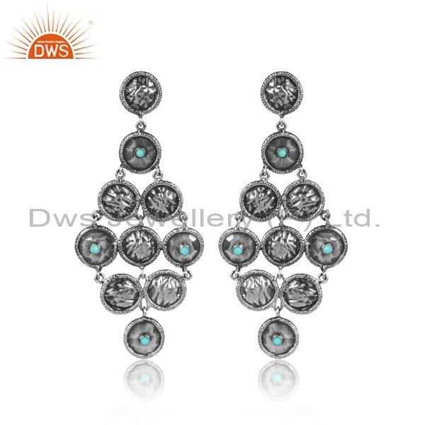 Arizona Turquoise Oxidized Silver Long Chandelier Earrings
