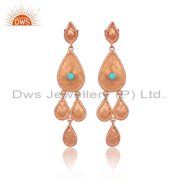 Arizona Turquoise Drop Style Rose Gold On Silver Earrings