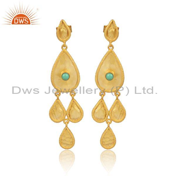 Arizona Turquoise Gold On 925 Silver Ethnic Earwire Earrings