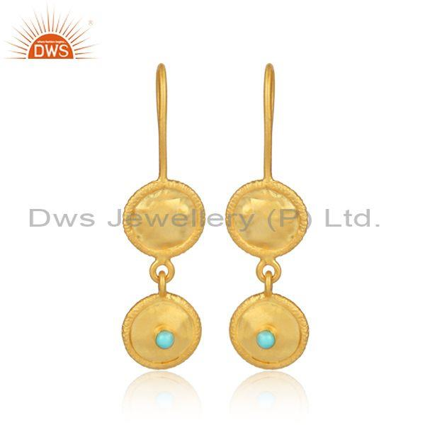 Arizona Turquoise Gold On 925 Silver Round Earwire Earrings
