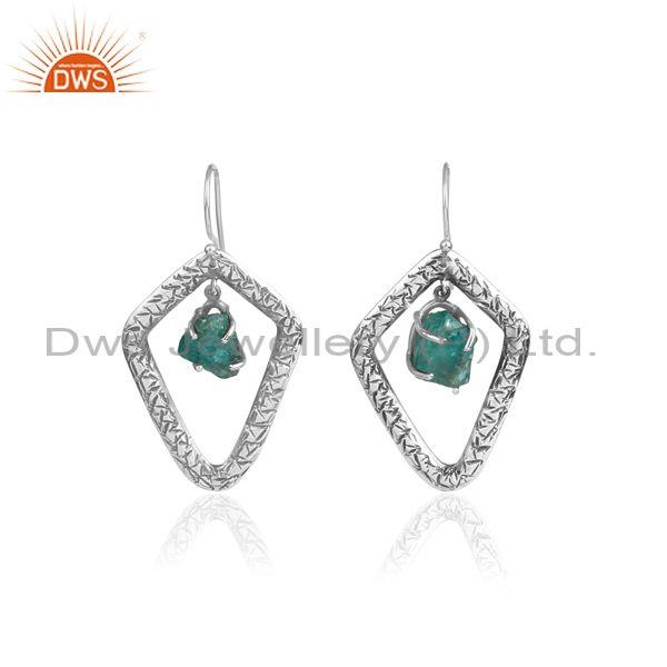 Rough cut apatite set oxidized silver handhammered earrings