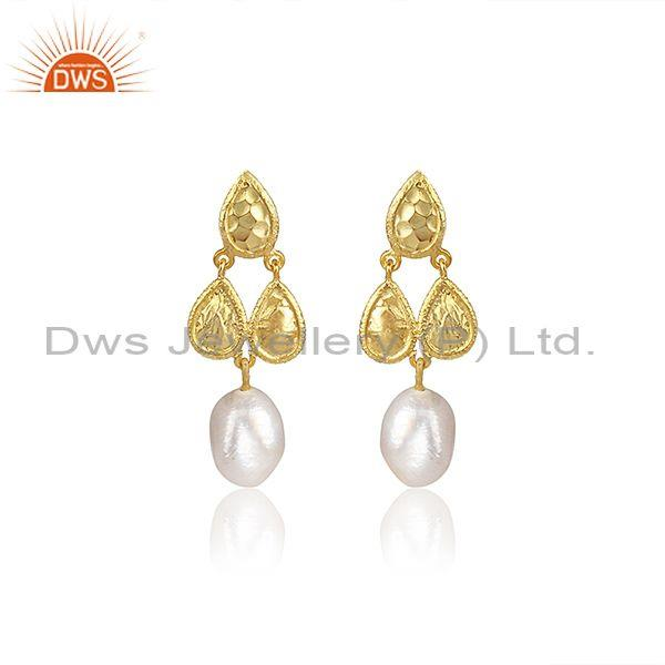 Fresh Water Pearl Set Gold On 925 Silver Ethnic Earrings