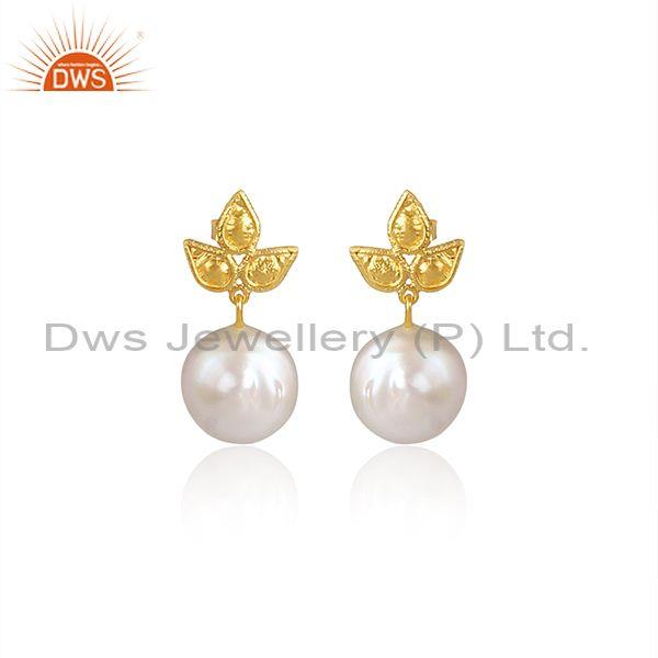 Pearl Set Three Petal Gold On 925 Silver Handmade Earrings