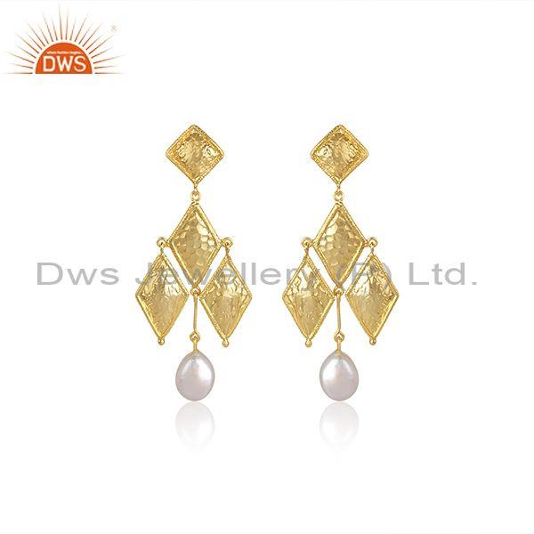 Pearls Set Gold On Silver Rhombus Shaped Classic Earrings