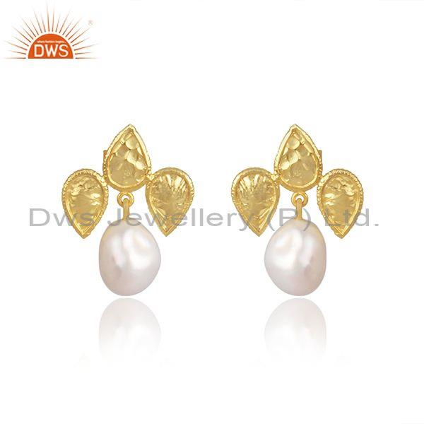Classic Pearls Set Gold On Sterling Silver Handmade Earrings