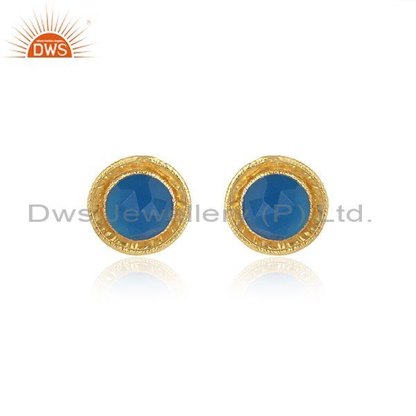 Blue Chalcedony Set Gold On 925 Silver Round Shaped Earrings