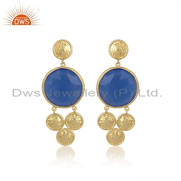 Blue Chalcedony Set Gold On 925 Silver Round Drop Earrings