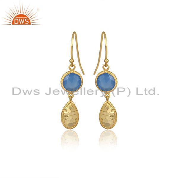 Round Blue Chalcedony Set Gold On Silver Earwire Earrings