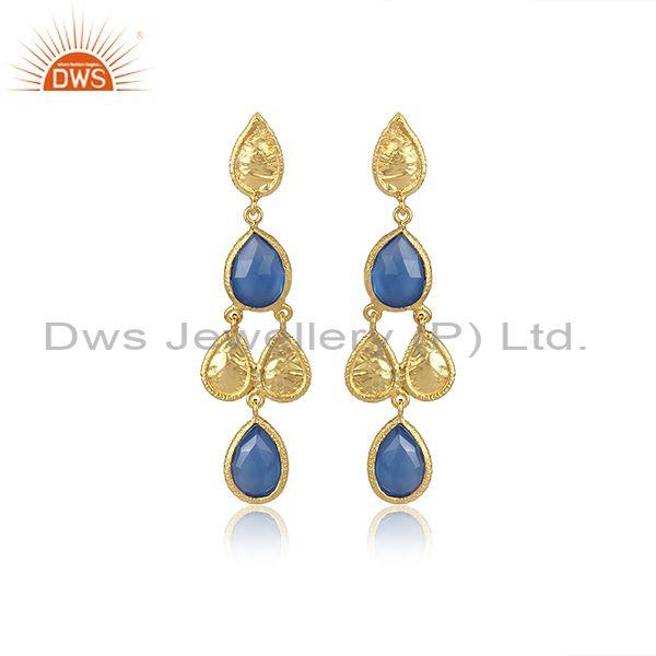 Pear Cut Blue Chalcedony Set Gold On Silver Ethnic Earrings