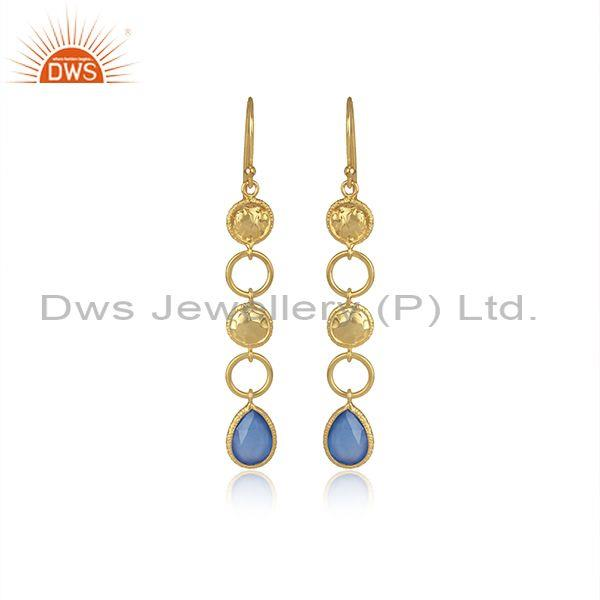 Blue Chalcedony Set Gold On Silver Ethnic Long Drop Earrings