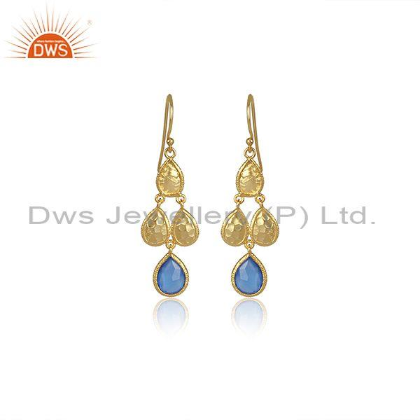 Blue Chalcedony Set Gold On 925 Silver Long Ethnic Earrings