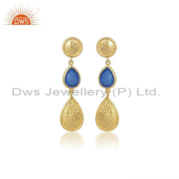 Handmade Blue Chalcedony Set Gold On 925 Silver Earrings