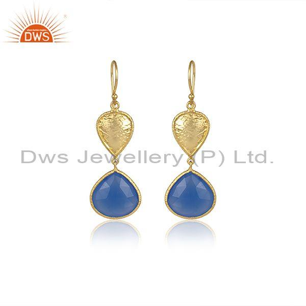 Blue Chalcedony Set Tear Drop Shaped Gold On Silver Earrings