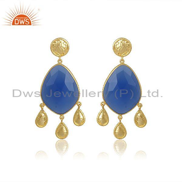 Blue Chalcedony Set Gold On Silver Ethnic Design Earrings