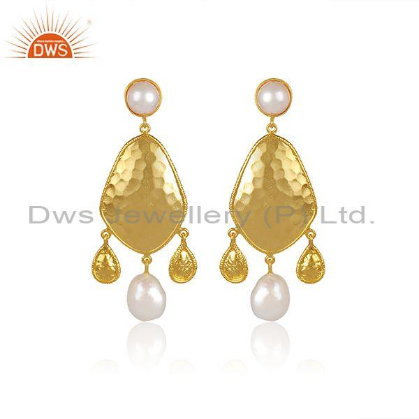 Pearl And Fresh Water Pearl Set Gold On 925 Silver Earrings