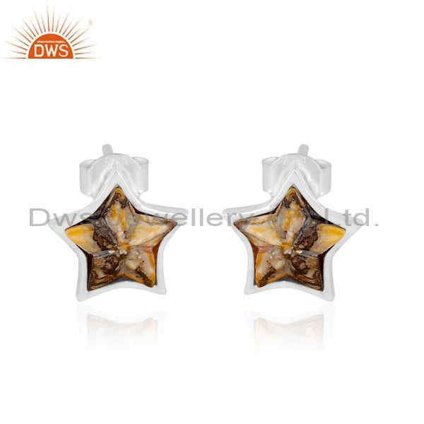 Mojave copper oyster turquoise set fine silver star earrings