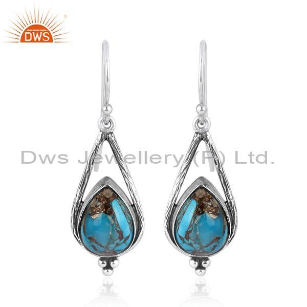 Mojave copper turquoise set oxidized silver long earrings