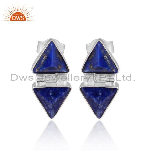 Lapis pyramid set fine 925 silver classic statement earrings