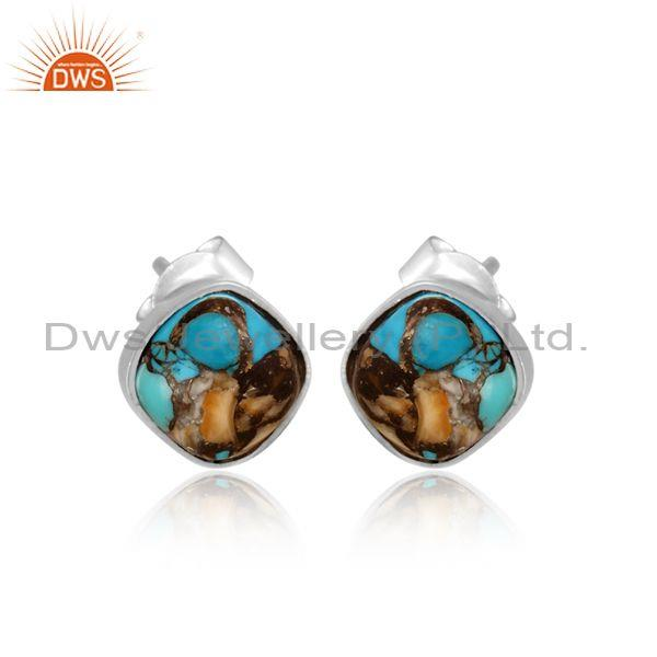 Mojave copper oyster turquoise set fine 925 silver earrings