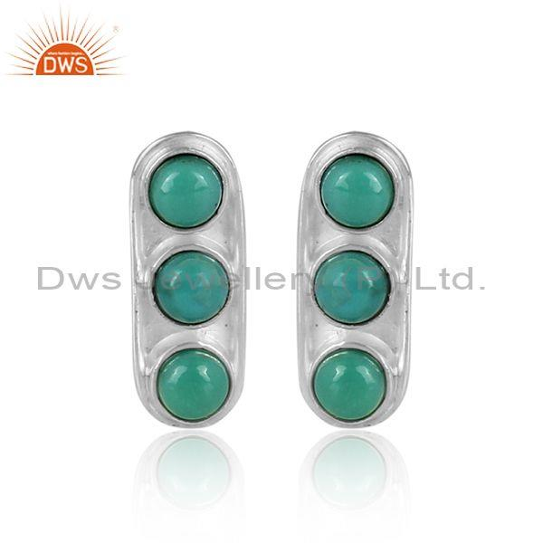 Round arizona turquoise set fine silver abstract earrings