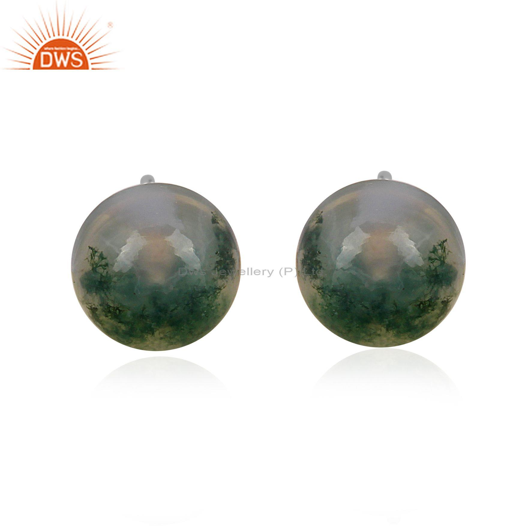 Moss agate set fine sterling silver classic round earrings
