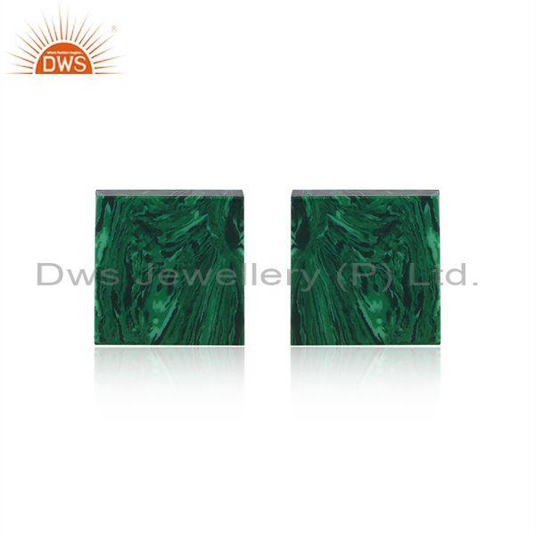Cultured malachite coin gold on silver square shape earrings