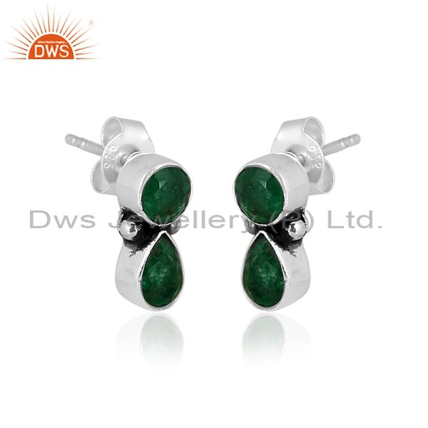 Round and pear cut emerald set oxidized 925 silver earrings