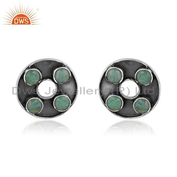 Amazonite set oxidized silver round handhammered earrings