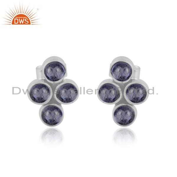 Round tanzanite set oxidized sterling silver design earrings