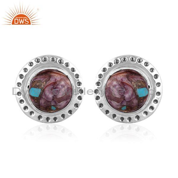 Oxide silver, mojave copper purple oyster turquoise earrings