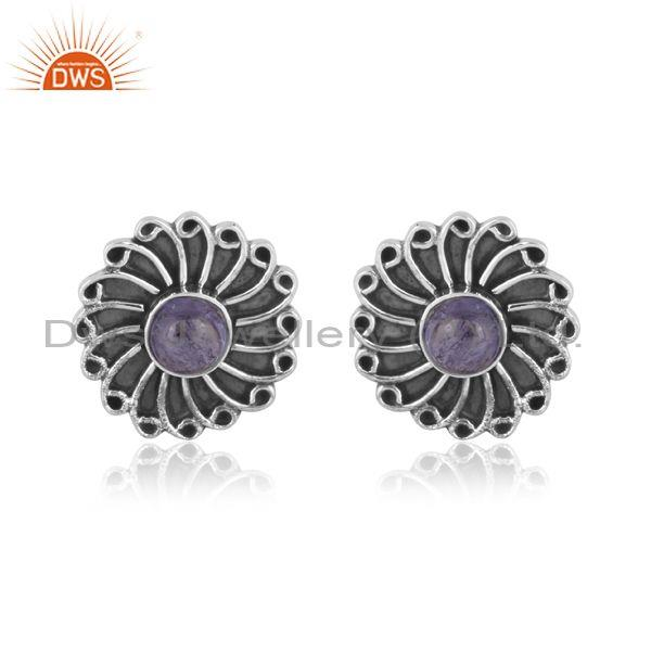 Round tanzanite set oxidized sterling silver floral earrings