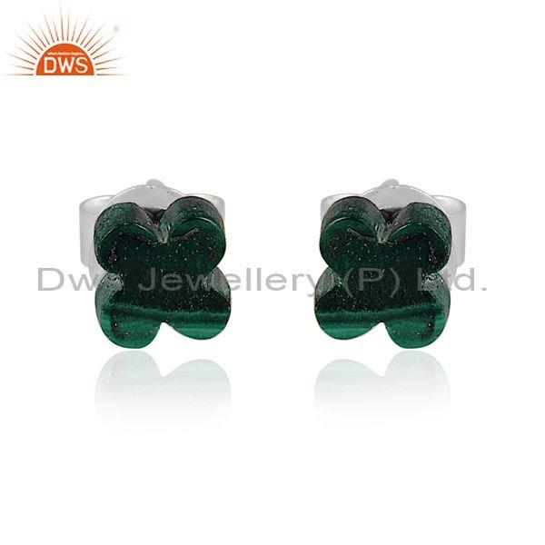 Malachite coin set fine sterling silver floral earrings
