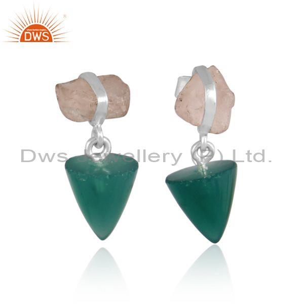 Green Onyx And Rose Quartz Set Fine Sterling Silver Earrings