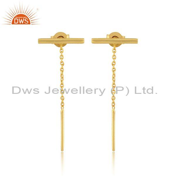 Handmade gold on sterling silver needle and thread earrings