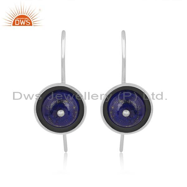 Round Lapis Set Oxidized Sterling Silver Designer Earrings
