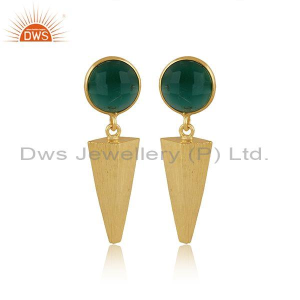 Round green onyx set gold on 925 silver statement earrings