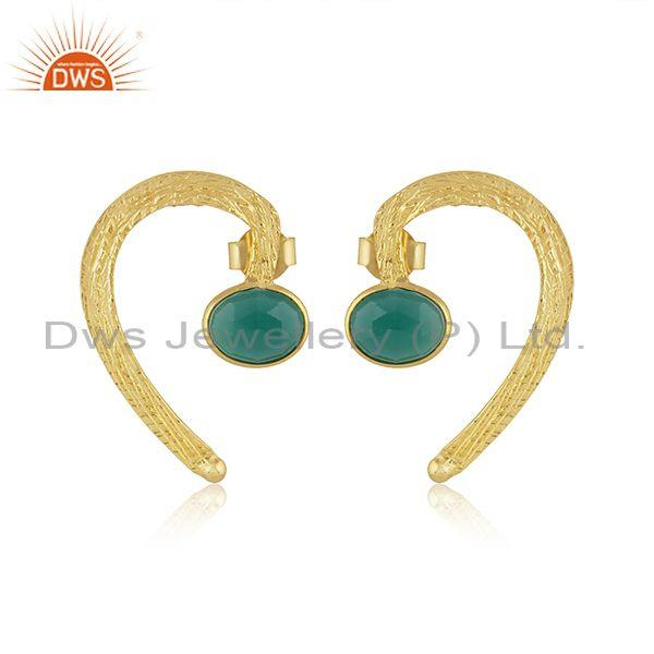 Oval green onyx gold on sterling silver textured earrings