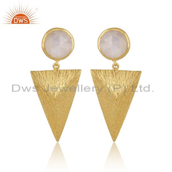 Round rainbow moon stone gold on silver triangle earrings