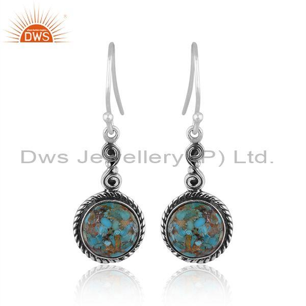 Round Boulder Turquoise Set 925 Oxidized Silver Earrings