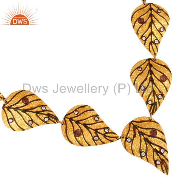 Gold Plated Sterling Silver Unique Artisan Leaf Design Necklace With Tourmaline