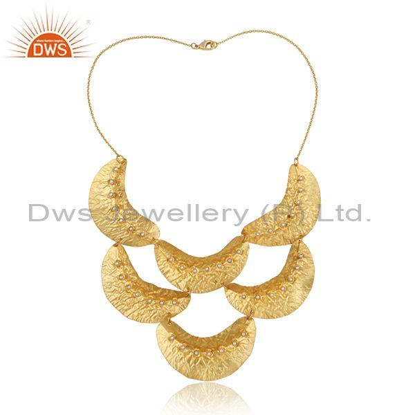 Multi Leaf Designer Bold Textured Gold on Fashion Pearl Necklace