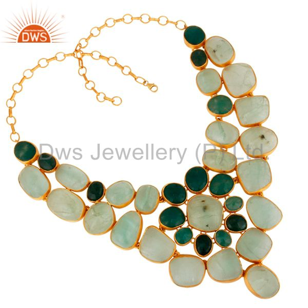 Silver Aventurine And Flourite Statement Necklace Handmade Gemstone Jewelry