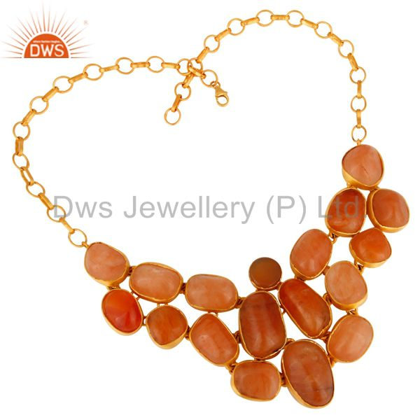 Handmade Aventurine & Carnelian Gold Plated Silver Gemstone Statement Necklace