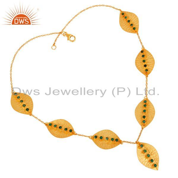 Leaf design gold plated 925 silver emerald gemstone necklace jewelry