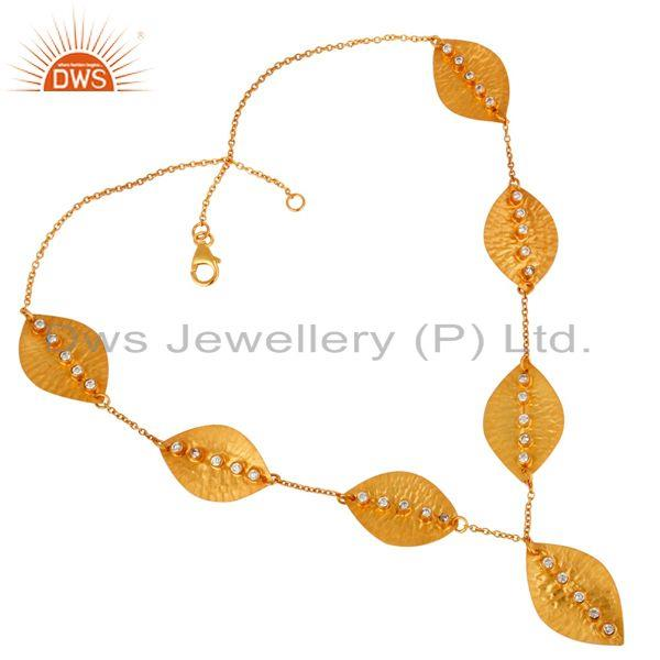 White zircon gold plated sterling silver leaf necklace manufacturers
