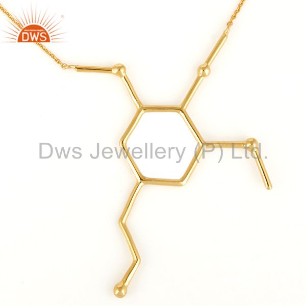 Solid sterling silver custom handmade wire necklace - yellow gold plated