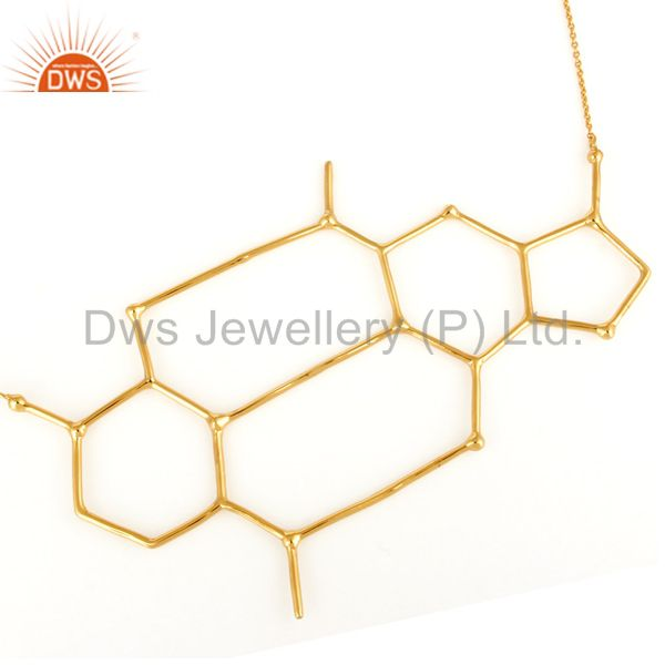 14K Yellow Gold-Plated Sterling Silver Wire Unique Wire Design Chain Necklace