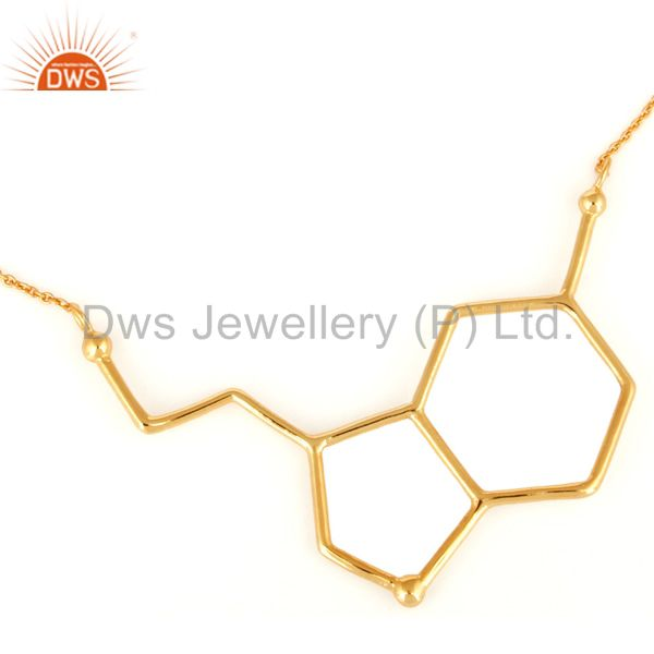 Handmade Solid Sterling Silver Designer Necklace With Yellow Gold Plated