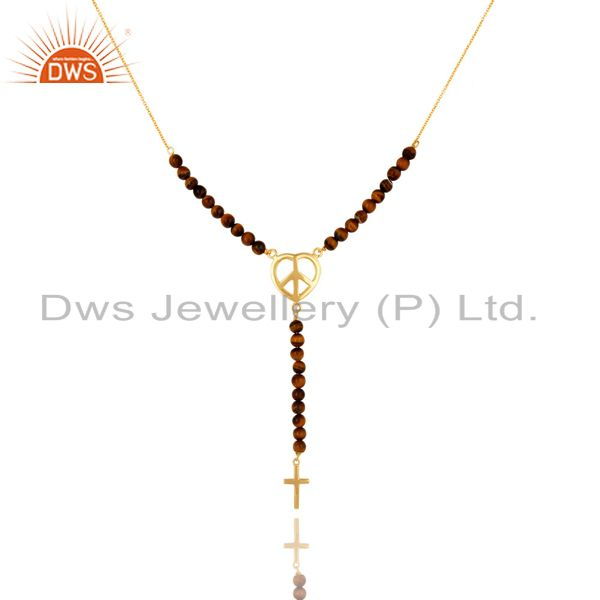 5mm Tiger  Eye Round Beads Sterling Silver Peace And Cross Charms Necklace